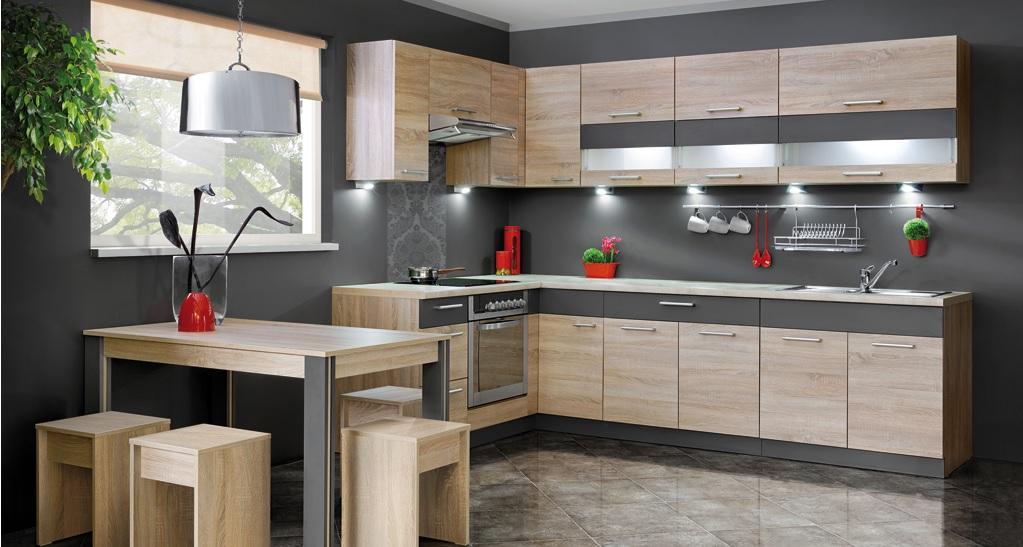 tanie meble kuchenne  solidne niedrogie meble do kuchni  ceny dostaw -> Kuchnia Dąb Sonoma Jakie Kafelki